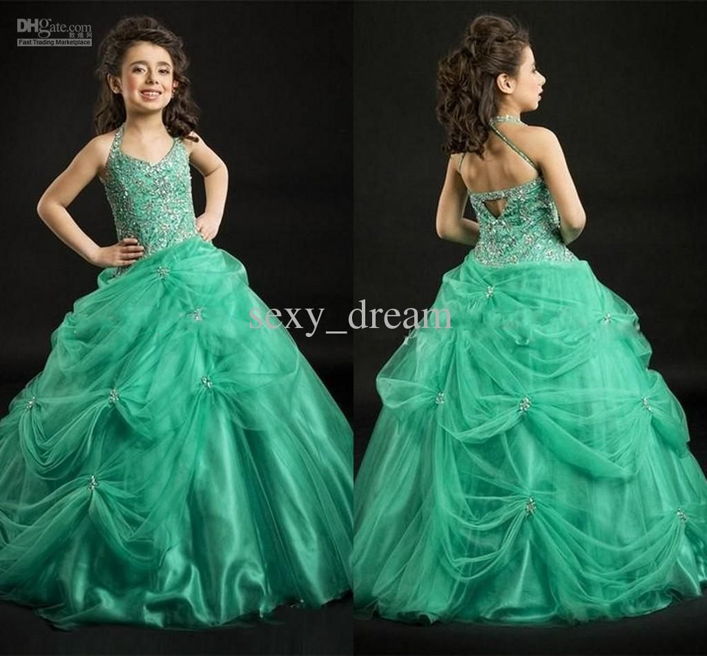 Hot sale beautiful beaded princess little girlus pageant dresses