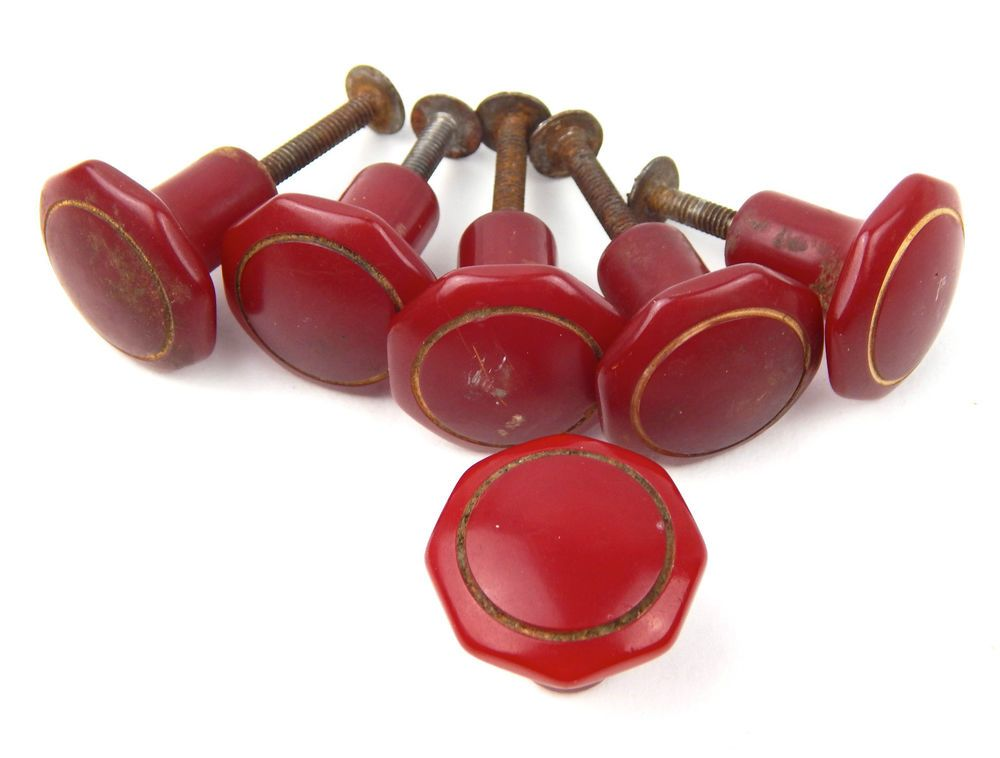 Vintage Set 6 Cherry Red Bakelite Drawer Pulls Knobs