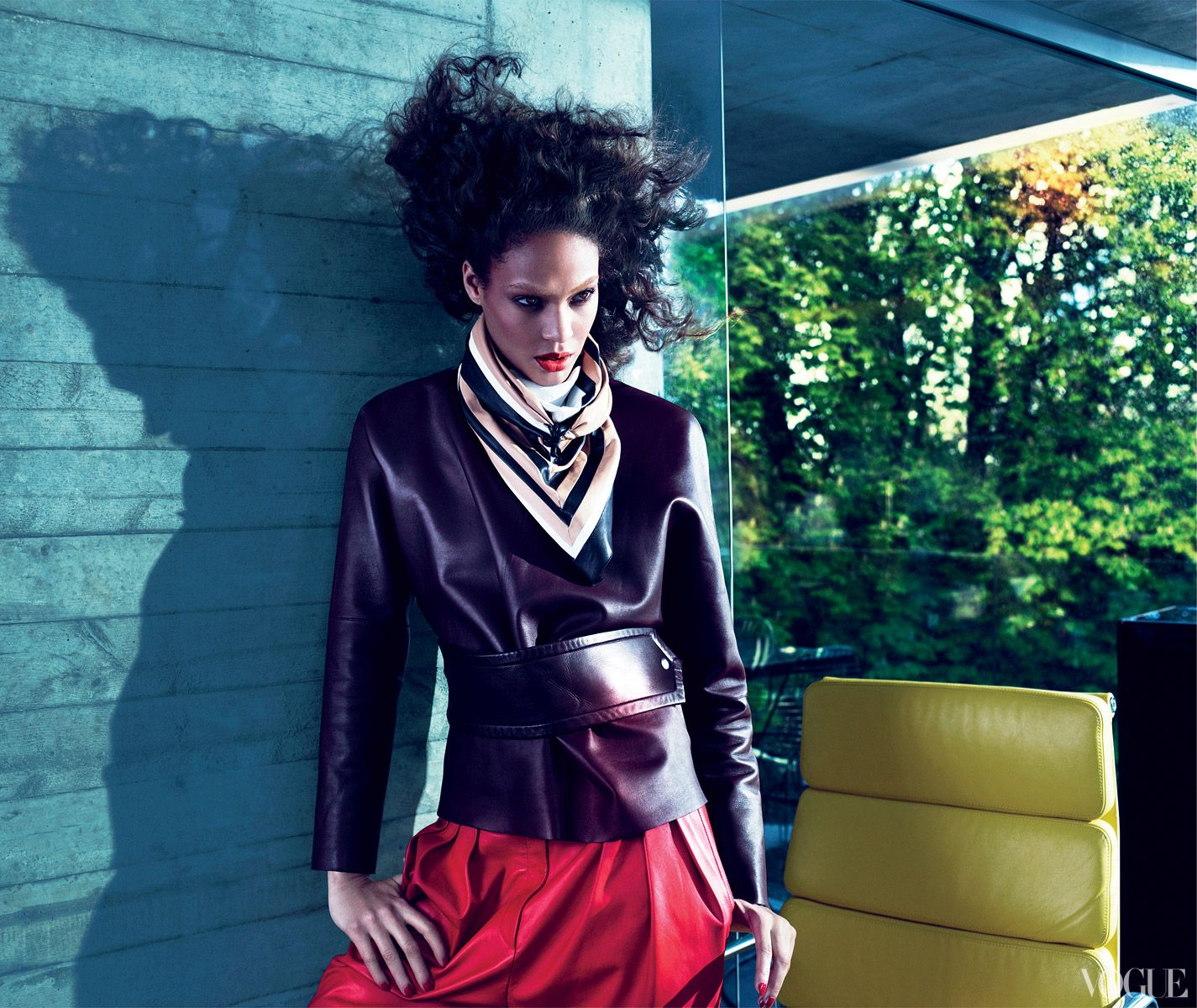 Model Joan Smalls wears big hair and leather on leather on leather (a 1983 Duran Duran combination if ever there was one). But this nuanced color palette? Shades of 2013. Céline leather top ($4,400) and scarf; Céline, NYC. Givenchy by Riccardo Tisci leather trousers, $4,480; select Barneys New York stores.