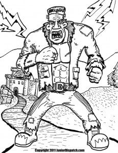 Frankenstein S Monster Stomps Along In This Fun Coloring Page