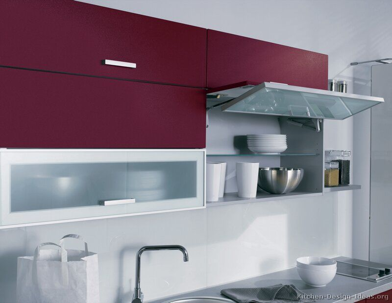 Kitchen Idea Of The Day Red Kitchen By Alno Ag With Bi Fold Fold Up Cabinet Doors