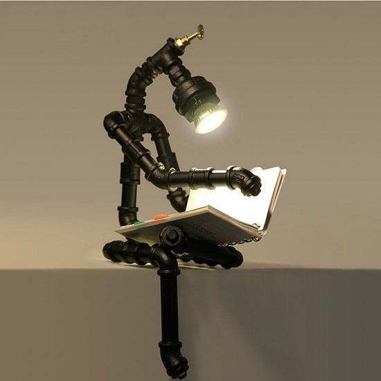 retro industrial chandelier loft robot lighting table lamp reading light home l mpara de tubo. Black Bedroom Furniture Sets. Home Design Ideas