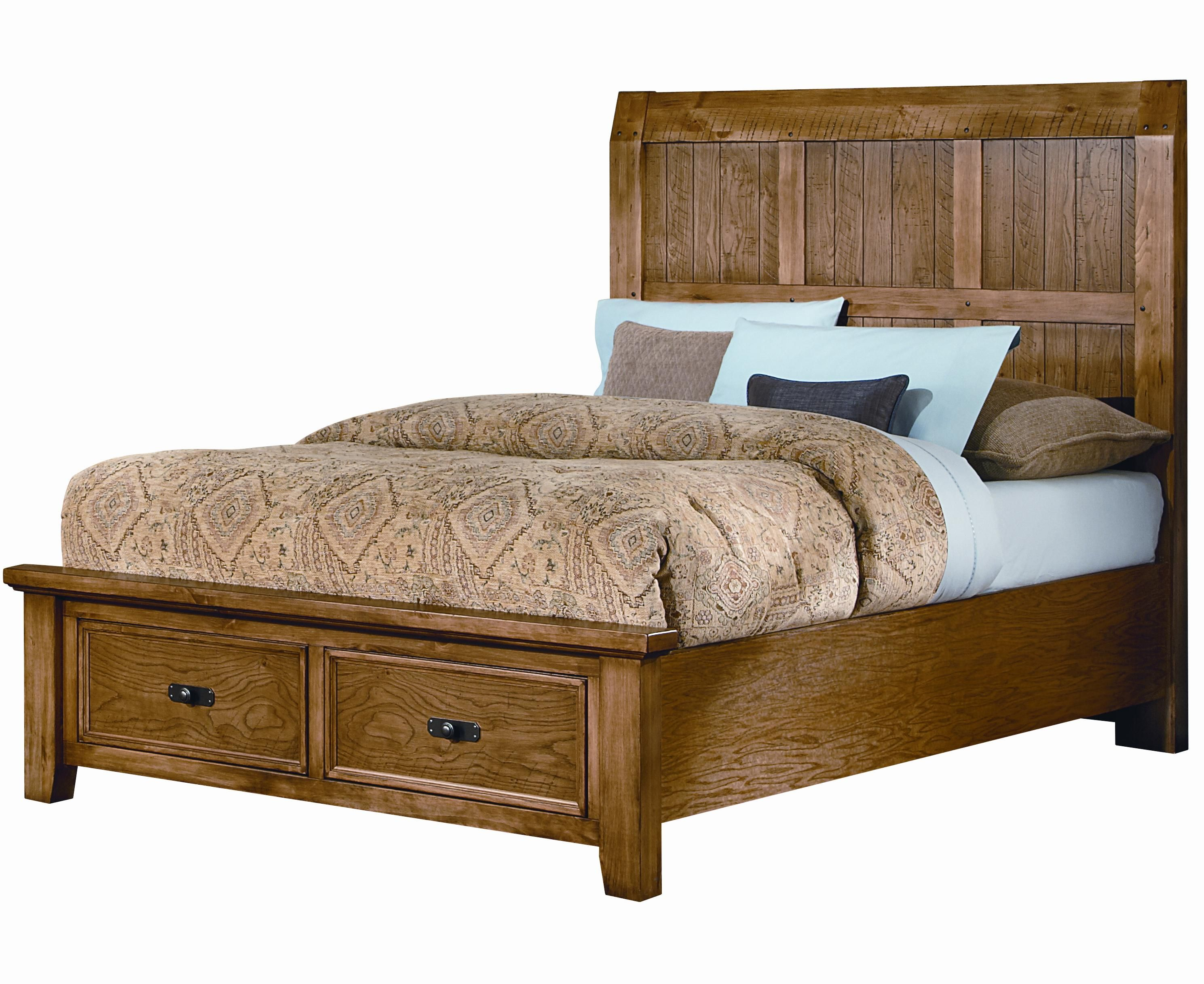 Vaughan Bassett Timber Mill Queen Timber Panel Bed With Storage