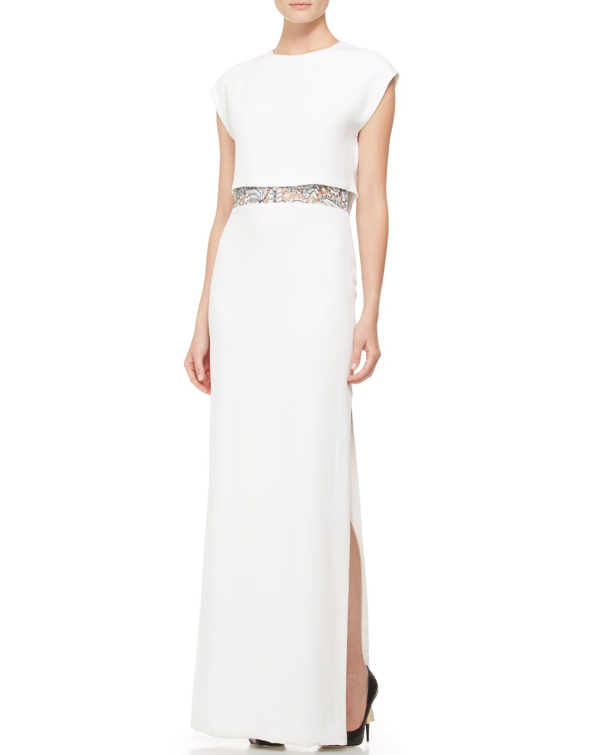 Adam lippes peekaboo lace cap sleeve crepe gown white neiman adam lippes peekaboo lace cap sleeve crepe gown white neiman marcus ombrellifo Image collections
