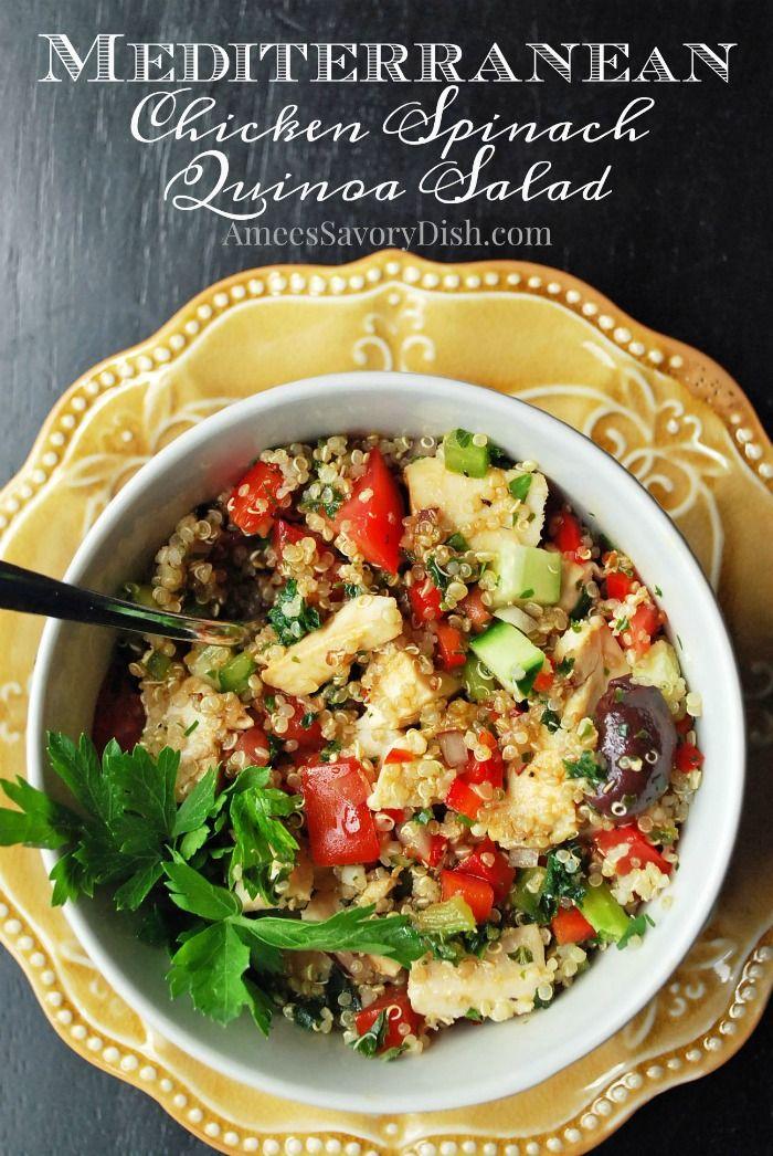 Mediterranean Chicken Spinach Quinoa Salad Recipe Quinoa Spinach Salad Spinach Stuffed Chicken Mediterranean Chicken