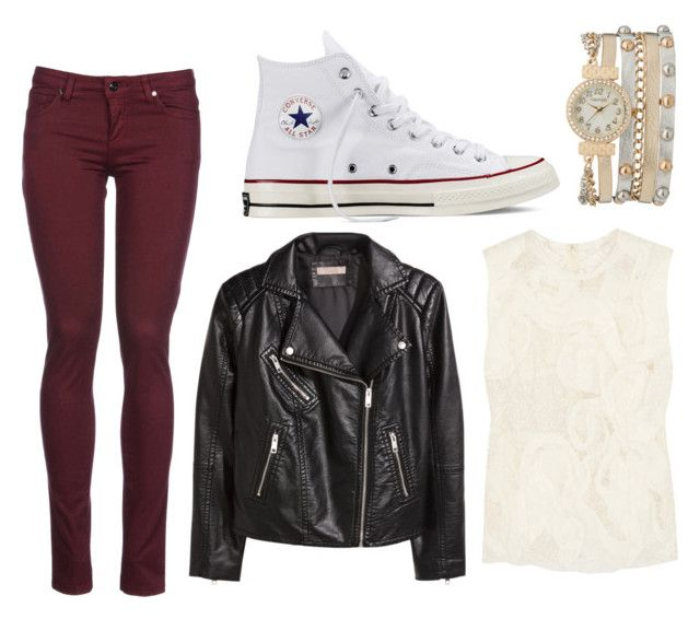 """Leather jacket style#1"" by sana-xox on Polyvore featuring Comme des Garçons, Converse, H&M, 8 and maurices"