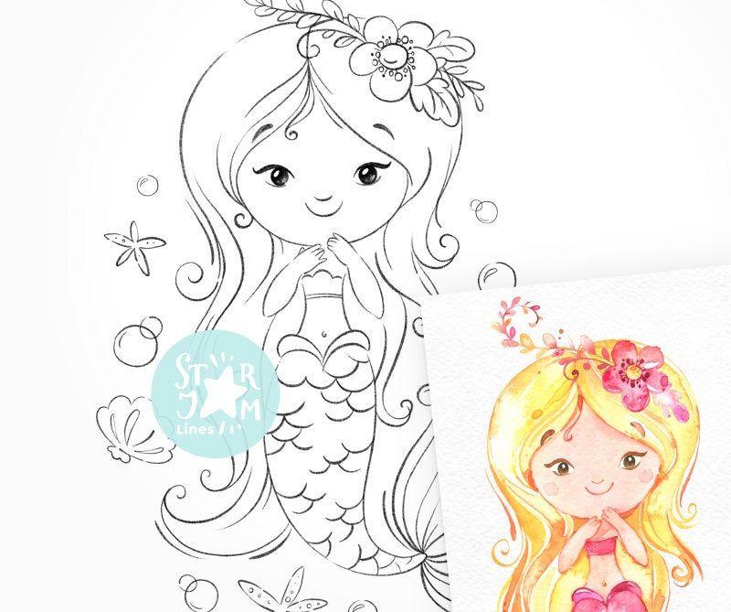Little Mermaid. Digi Stamp, Coloring Page, Digital Art