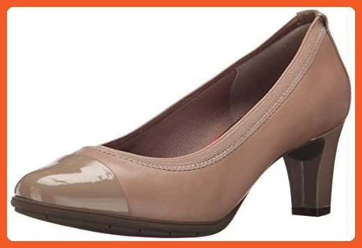 Rockport Women's Total Motion Melora Gore Cap Toe Warm Taupe Patent 8.5 W  (C)