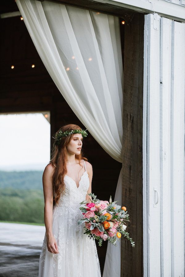 640d5a9f64a Southwest Wedding Ideas at Tatum Acres. Rustic chic wedding inspiration.  Scalloped A-Line Wedding Dress with Double Straps by Melissa Sweet  exclusively at ...