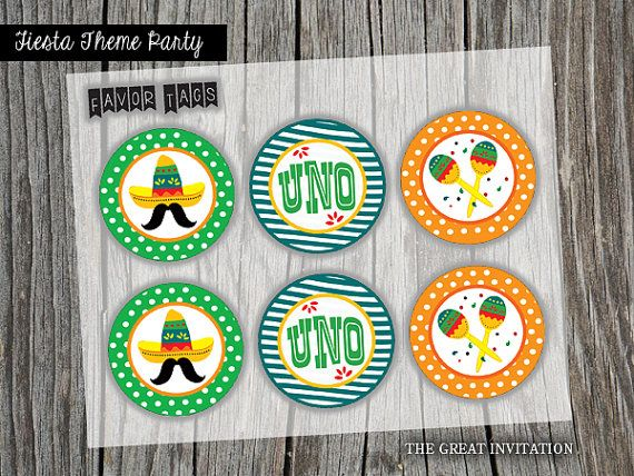 Fiesta party fiesta stickers fiesta party favor tags fiesta cupcake toppers fiesta stickers uno fiesta fiesta printables