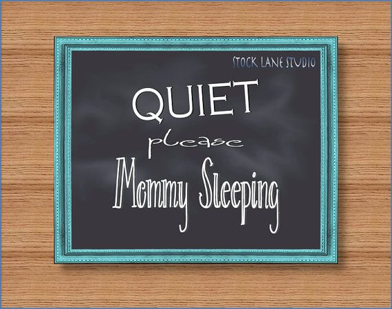 pink  green Quiet Please mommy sleeping 8x10 by StockLaneStudio, $4.00