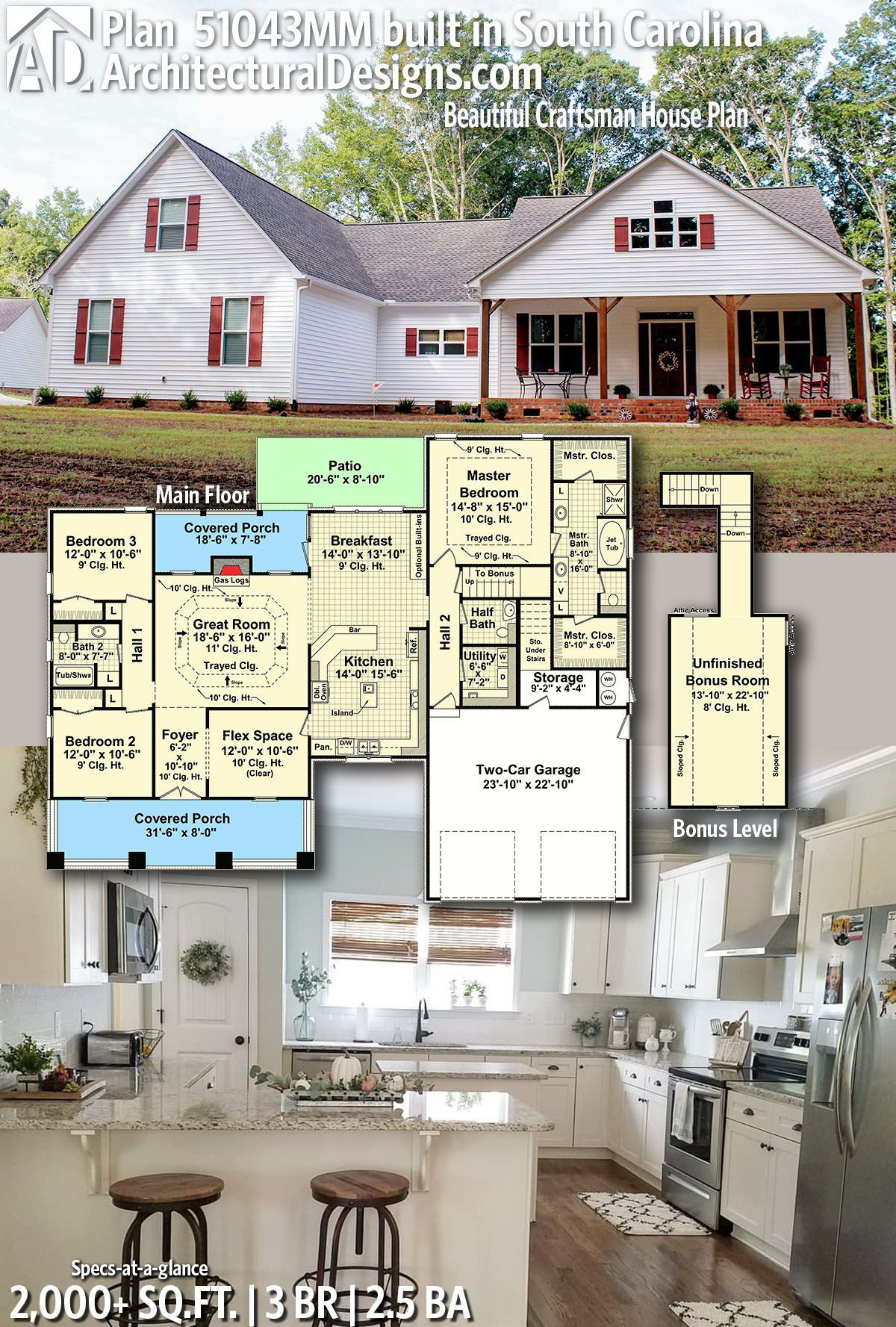 Plan 51043mm Beautiful Craftsman House Plan House Plans Craftsman House Plans Barn House Plans
