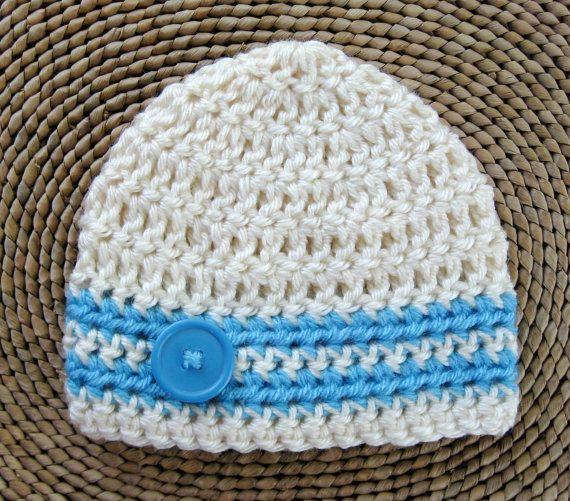 88523fff9 Baby boy hat, newborn photography prop, infant crochet button beanie ...