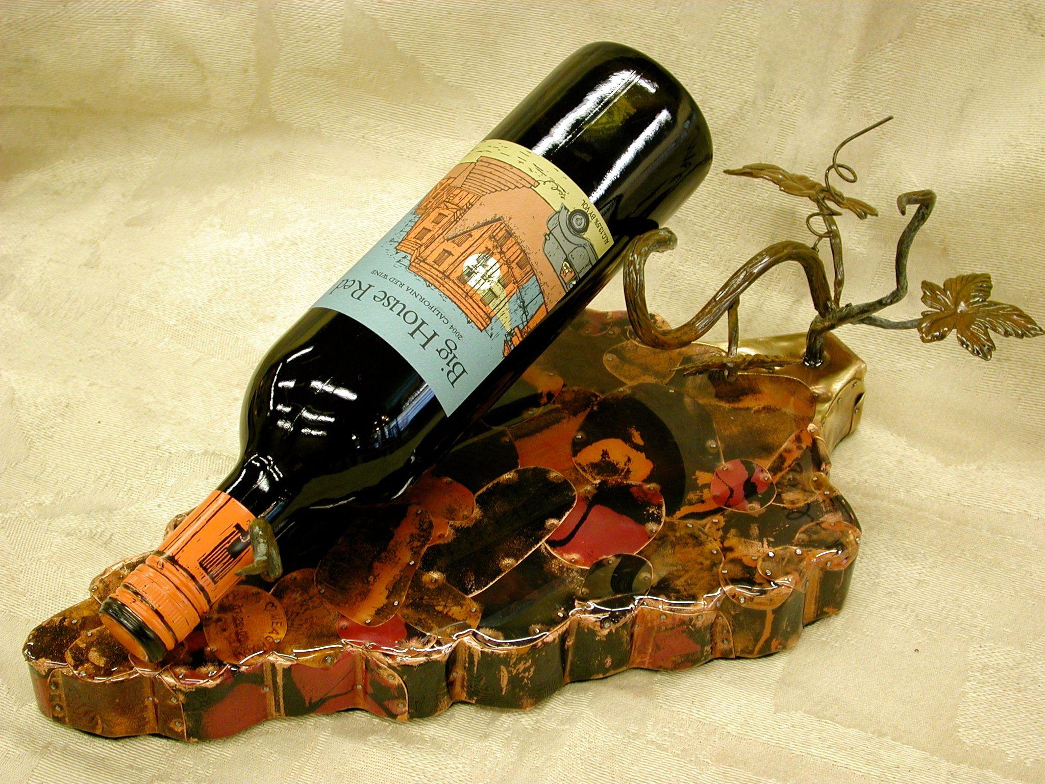 Heated copper, epoxy & patinated steel single wine bottle holder ...