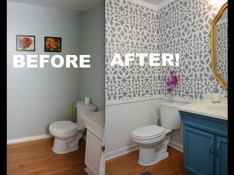 My Colorful Small Gray Bathroom Makeover With Stencils Impressive Youtube Bathroom Remodel Design Inspiration
