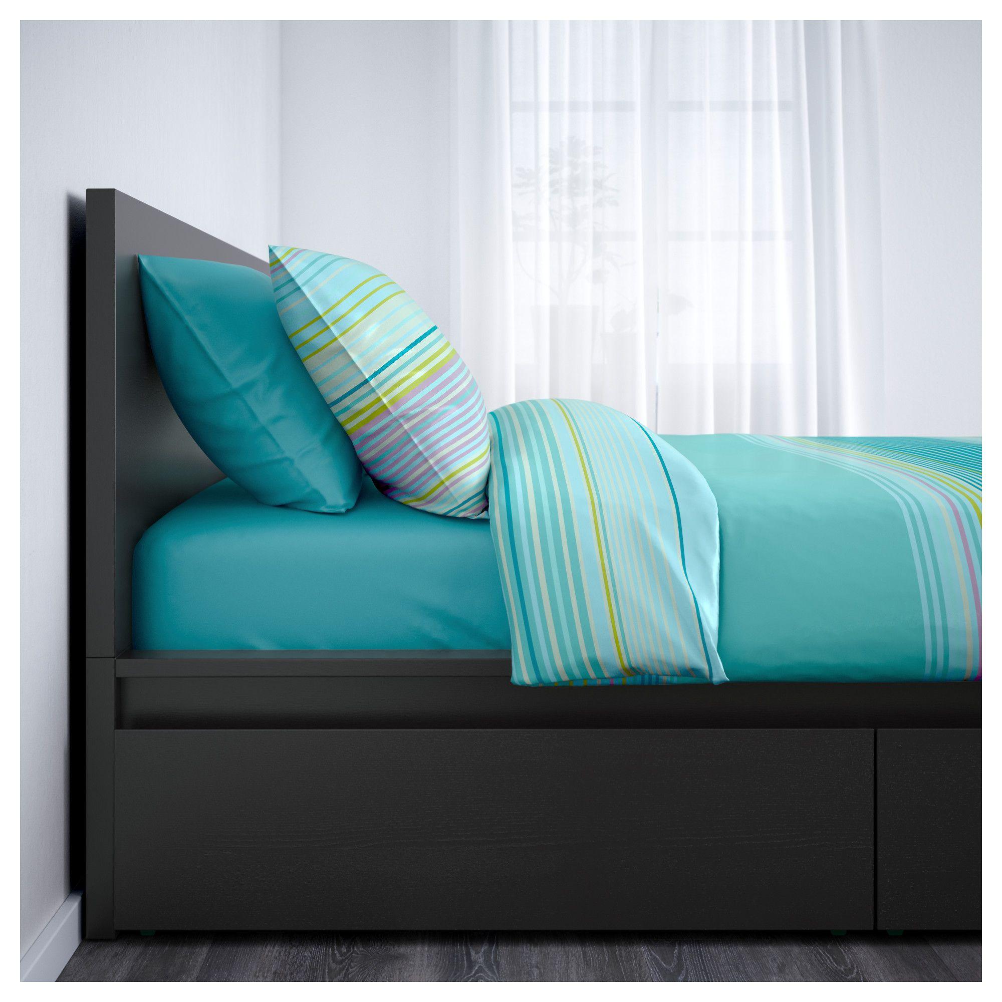 MALM High bed frame/4 storage boxes, black-brown, Leirsund
