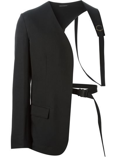 d279811f Black wool asymmetric harness blazer from Yohji Yamamoto featuring a  collarless design, a front flap pocket, long sleeves and button cuffs.
