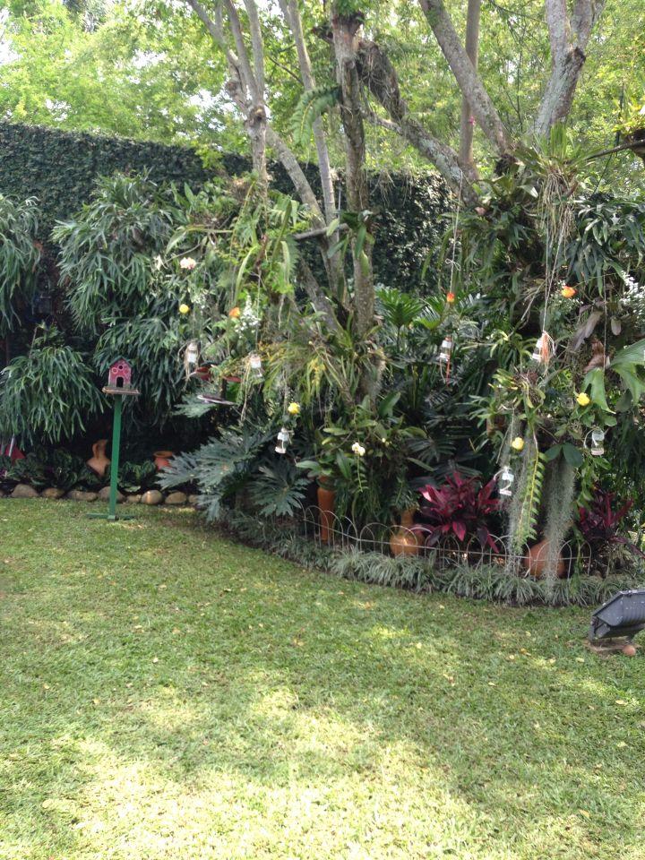 Jardin con floreros