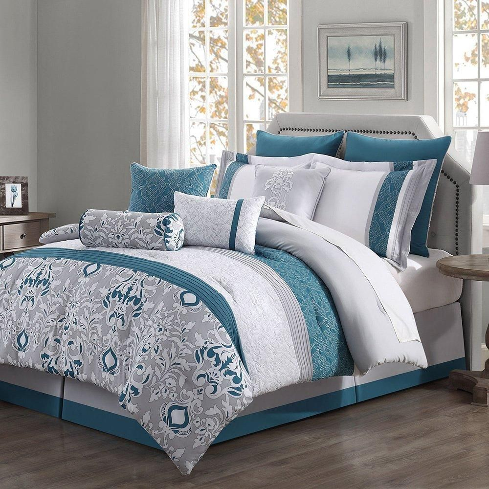 Teal Damask Floral Striped Theme Comforter Queen Set Medallion Flowers Pattern Lodge Native Tribal Designs Stripes Indie Southwestern In Comforter Sets Comforters King Comforter Sets
