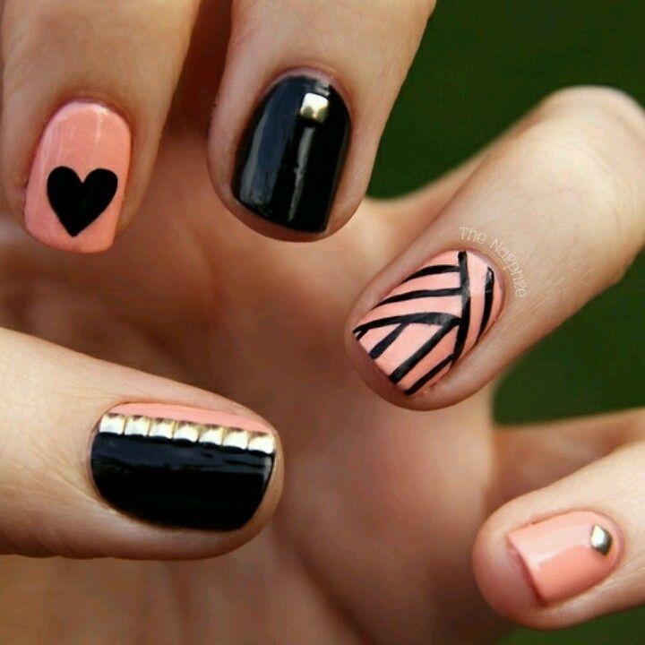 Palo Rosa y Negro | Nails | Pinterest | Rosas, Negro y Diseños de uñas