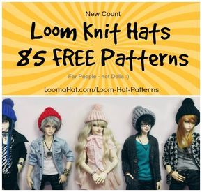 Free Loom Knit Hat Patterns - New count is 85 ! #loomknitting
