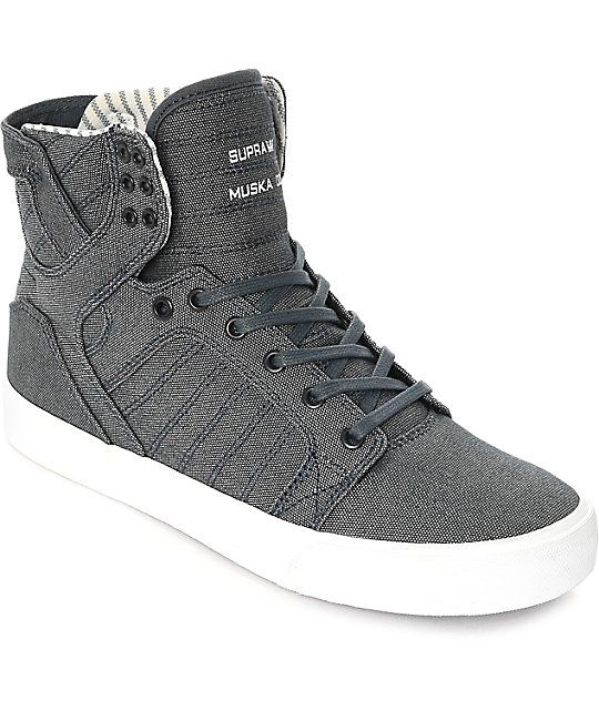 57b0b9465e Fashionable with a high-top silhouette, the Supra Skytop Navy and White  Canvas Skate