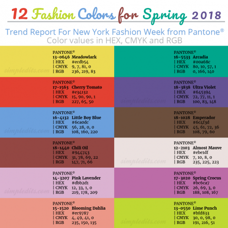 top 12 pantone colors for spring 2018 with hex cmyk and rgb values photo editing blog and how. Black Bedroom Furniture Sets. Home Design Ideas