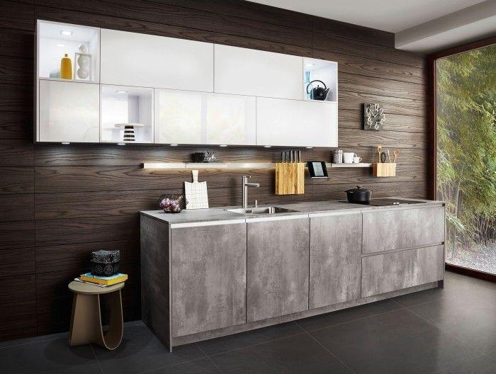 moderne küche mit weißer akzentzfläche gestalten Küche Möbel - bilder für die küche
