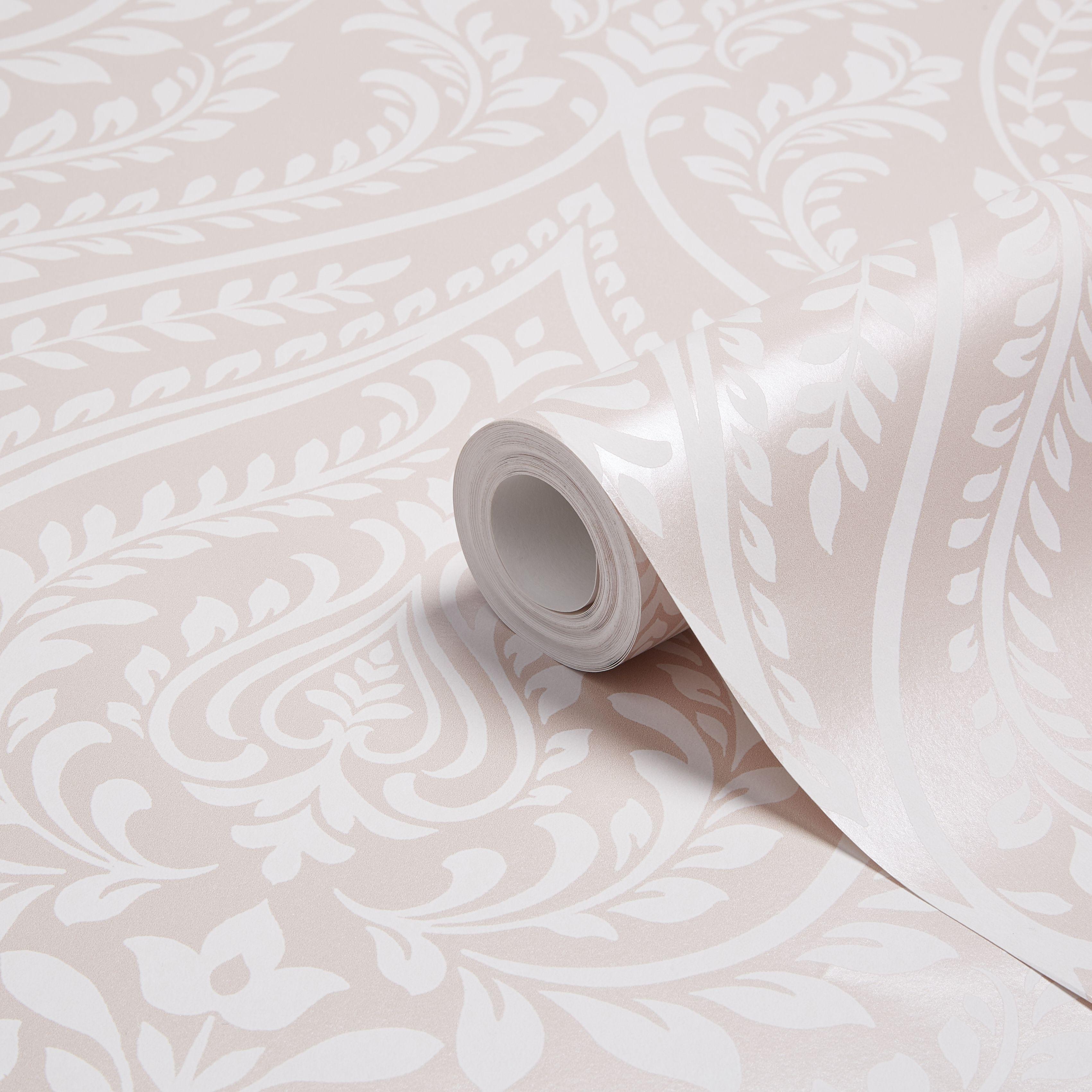 Colours Maya Blush Damask Mica Wallpaper Departments Diy At B Q Damask Decor Wallpaper Living Room Blush Wallpaper