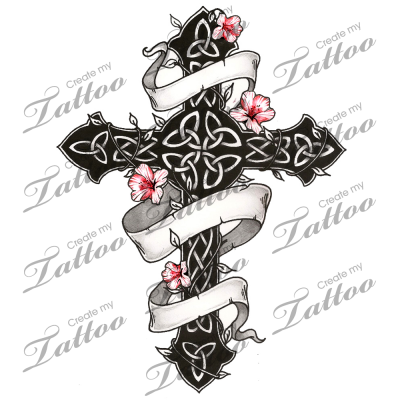 marketplace tattoo gothic and floral celtic cross 1751 knot work tattoo. Black Bedroom Furniture Sets. Home Design Ideas