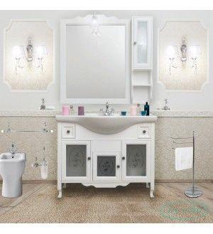 Arredo bagno in stile provenzale in legno bianco con vetro ...