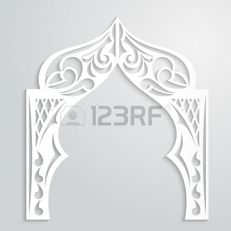 Abstract Background With Paper Arch In The Asian Style Design Entrance Door Design Stencils Wall