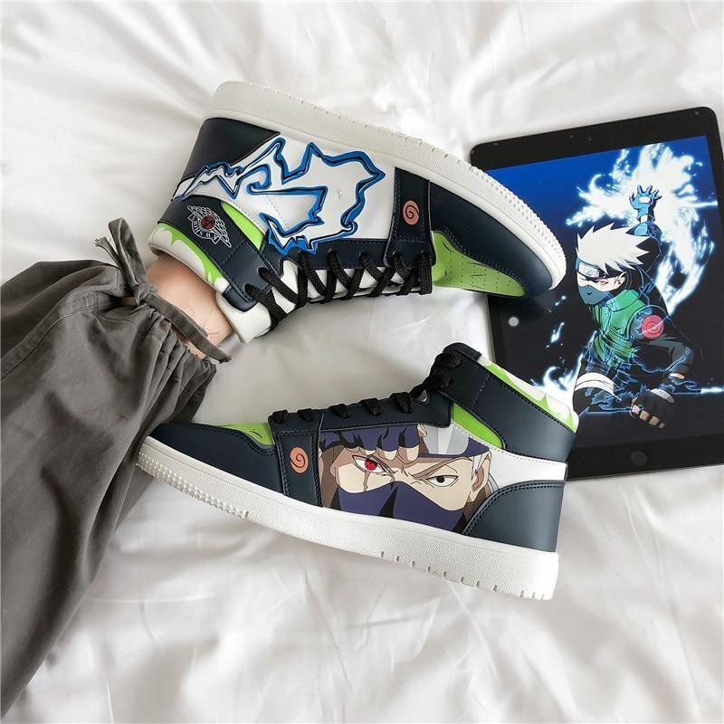 Photo of Anime Naruto Canvas Shoes Sasuke Men Vulcanized Shoes Kakashi Sneakers Gaara  Madara Pain Cosplay School  Outdoor Travel Shoes – Black-771 / 44