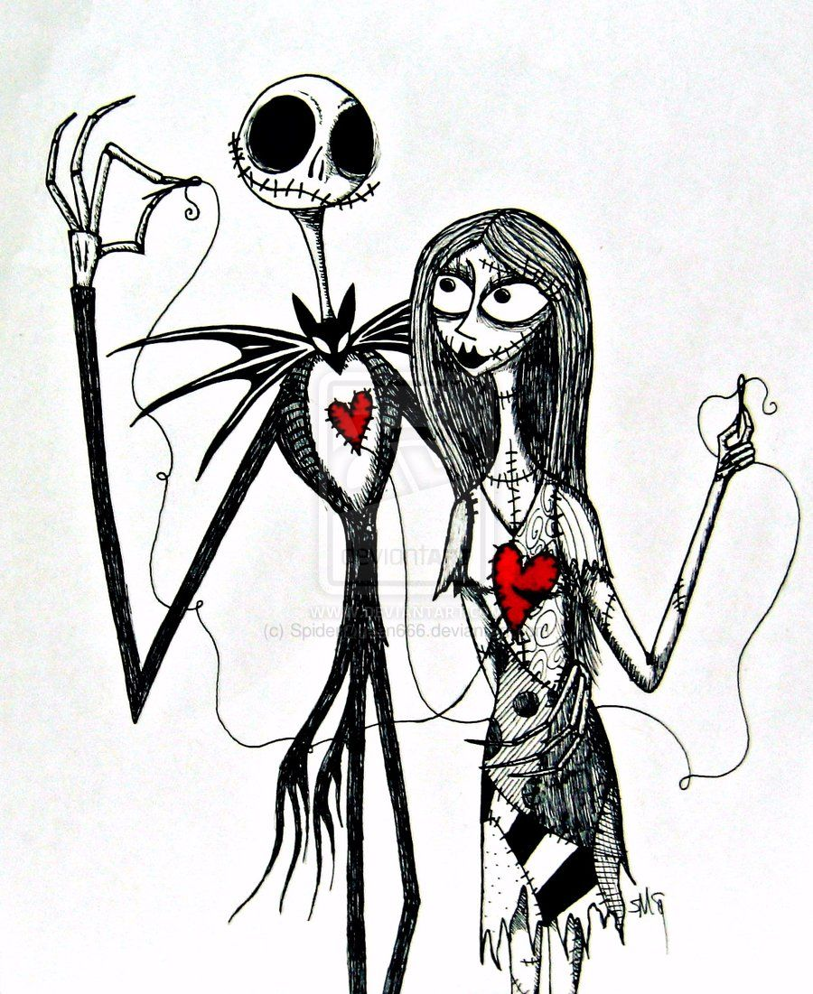 Jack and Sally by *TheSpyderQueen on deviantART