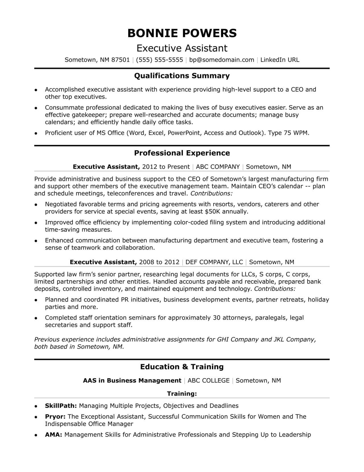 Resume Examples Office Executive Administrative Assistant