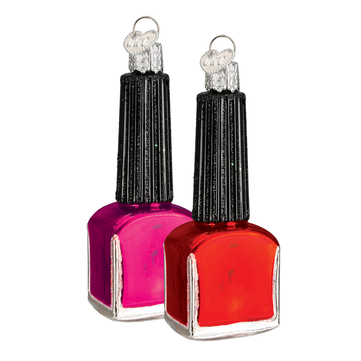 It's summer and that means perfectly polished toes! Add a little glamour to your Christmas tree with this beautiful glass Nail Polish Bottle ornament. It was carefully mouth-blown into a finely crafted mold, then a hot solution of liquid silver was poured inside. Finally, it was hand-painted with bright lacquers and glitters for you to enjoy! #summertime #manicure #pedicure #nails #nailpolish #fashionista #glassornaments #giftideas #oldworldchristmass Nail Polish (assorted colors) (Item…