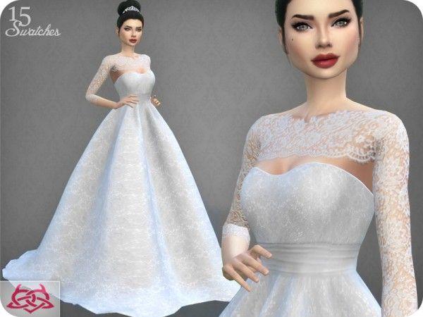 the sims resource: wedding dress 7 recolor 4colores urbanos