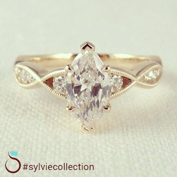 Vintage Marquise Diamond Engagement Ring From Sylvie Engagement Rings Marquise Marquise Diamond Engagement Ring Wedding Rings Vintage