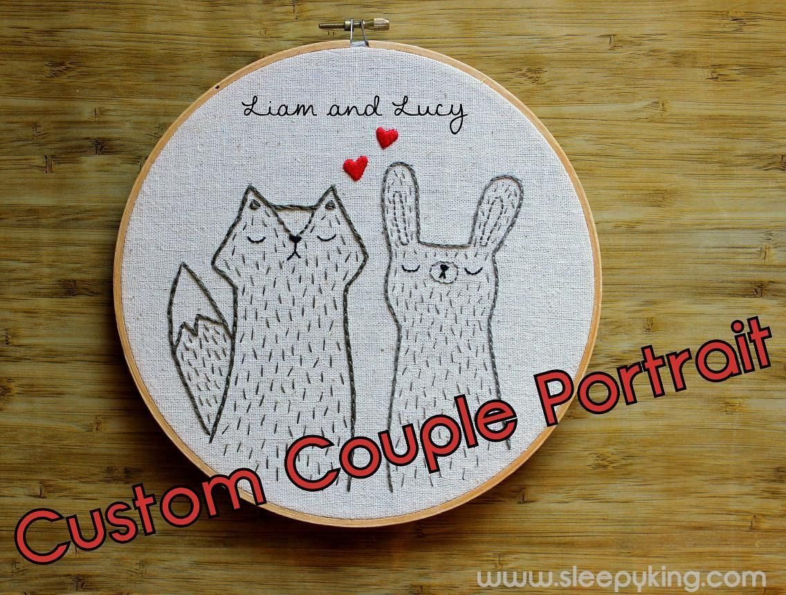 Custom Embroidered Animal Couple Portrait with Names on LARGE hoop.
