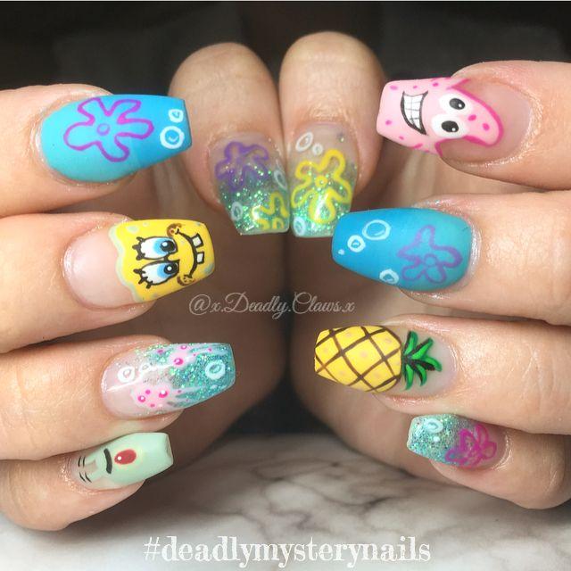 Nail Art Sponge Bob Nails Gel Nails Acrylic Nails Coffin Nail Sponge Bob Cartoon Nails Crazy N Cute Acrylic Nail Designs Disney Acrylic Nails Really Cute Nails