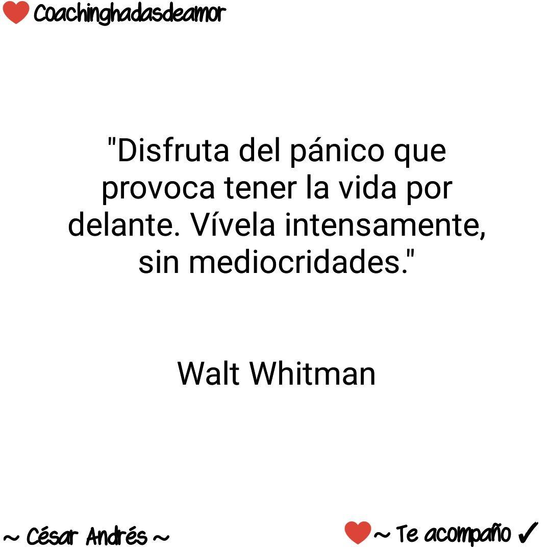 Disfruta Del Panico Que Provoca Tener La Vida Por Delante Vivela Intensamente Sin Mediocridades Walt Whitman Walt Whitman Whitman Intenso