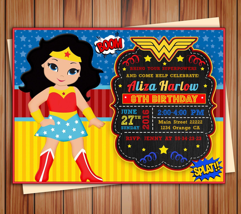 Wonder girl, Super Girl invitation, Wonder girl digital chalkboard invitation, party invitation