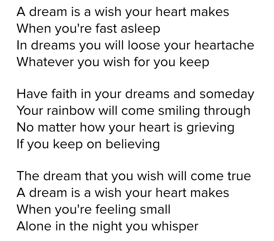 A Dream Is A Wish Your Heart Makes Lyrics From Cinderella