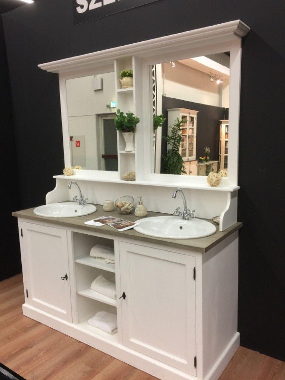 Waschtisch wei Massivholz Doppelwaschtisch im Landhausstil mit Spiegel  Bad  Waschtische