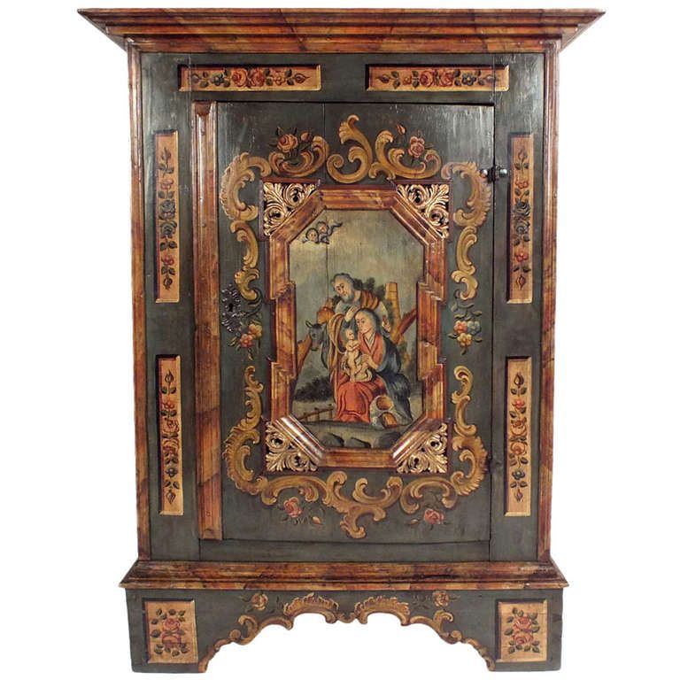 1900 S Baroque Style Single Door Painted Armoire From A Unique