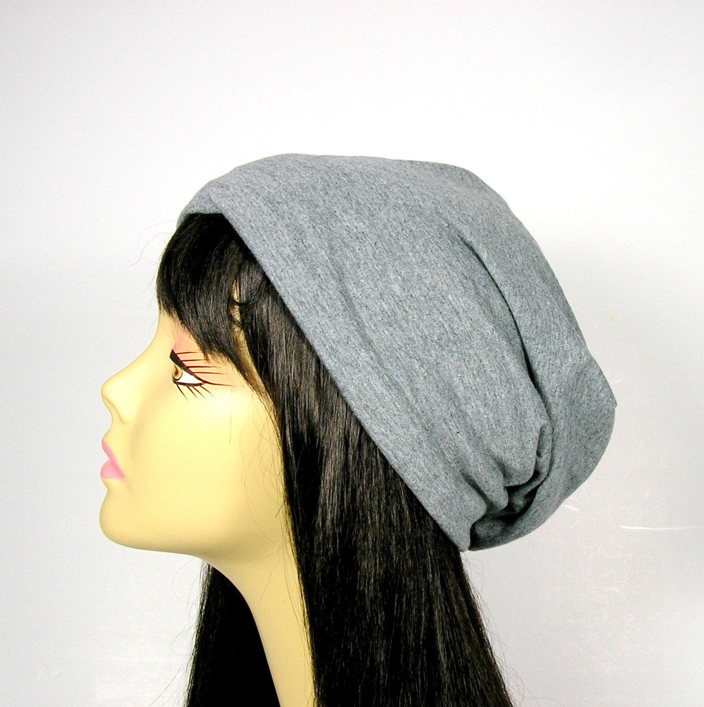 Gray Cotton Jersey Knit Slouchy Beanie Cotton Chemo Cap Hair Loss Hats  Headcovers Beanies Light Weight Unisex Slouch Hats Gray Beanies by  LooptheLoop on ... b68105077546