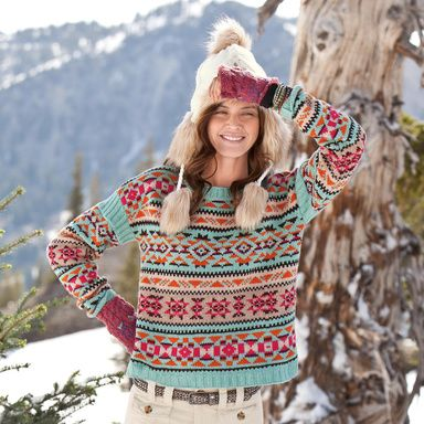 BLANKET VIBE PULLOVER from Sundance Catalog. Love the Native American look.
