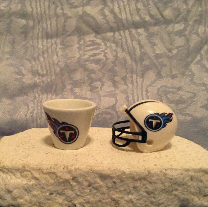 NFL MINIATURE PORCELAIN CUP (2007) & MINIATURE HELMET (2010) Tennessee Titans #TennesseeTitans