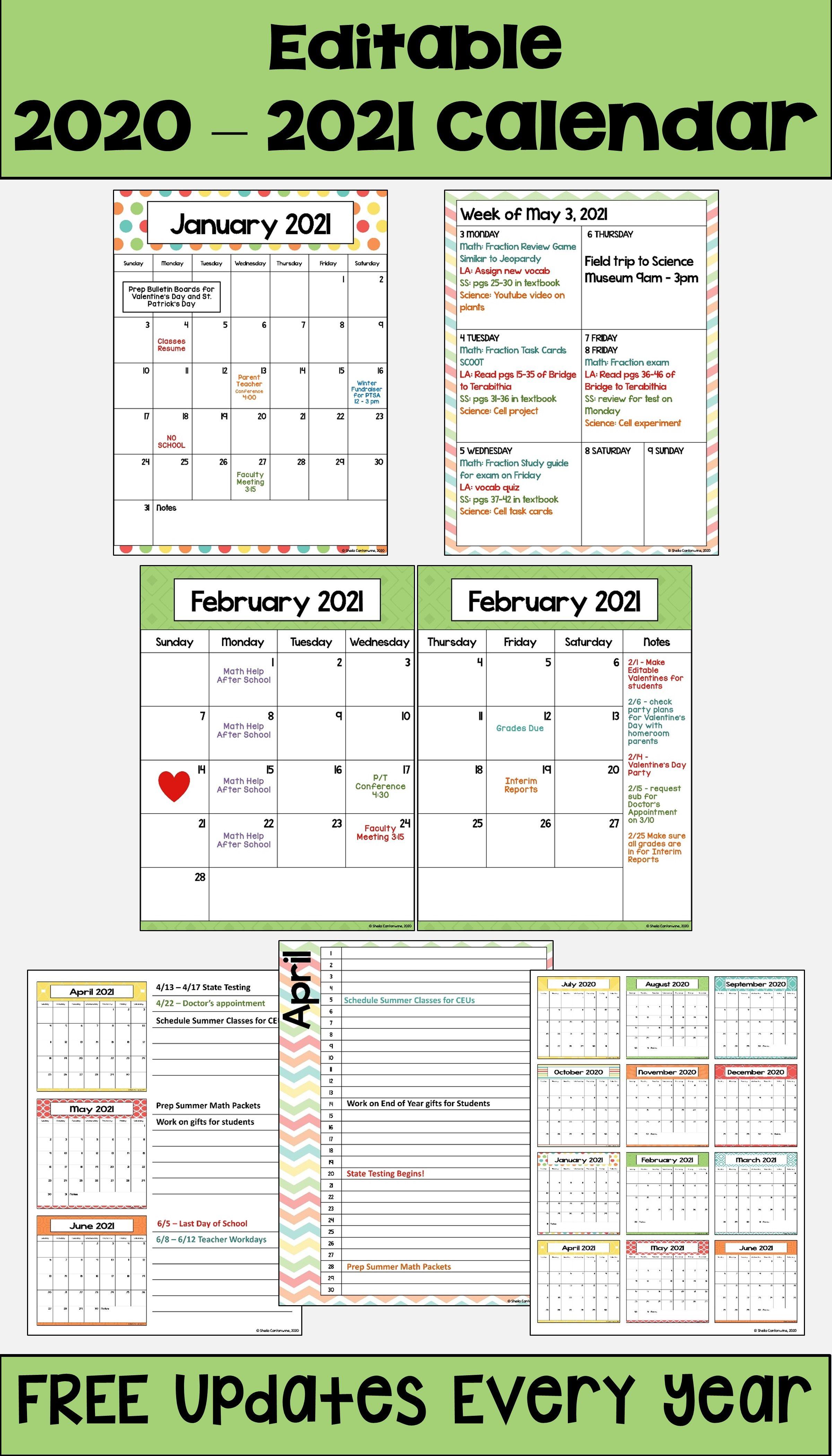 2020 2021 Calendar Printable And Editable With Free Updates In Pastel Colors In 2020 2021 Calendar School Calendar Teacher Planner