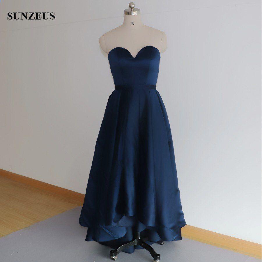 Vysoká nízká družička šaty krátký přední dlouhé zadní Navy modré svatební  šaty strana formální šaty 86819c6cf1